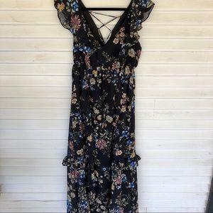 June & Hudson – Black Floral Maxi Dress NWOT
